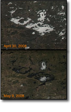 2008 Lake Vermilion ice out satellite view